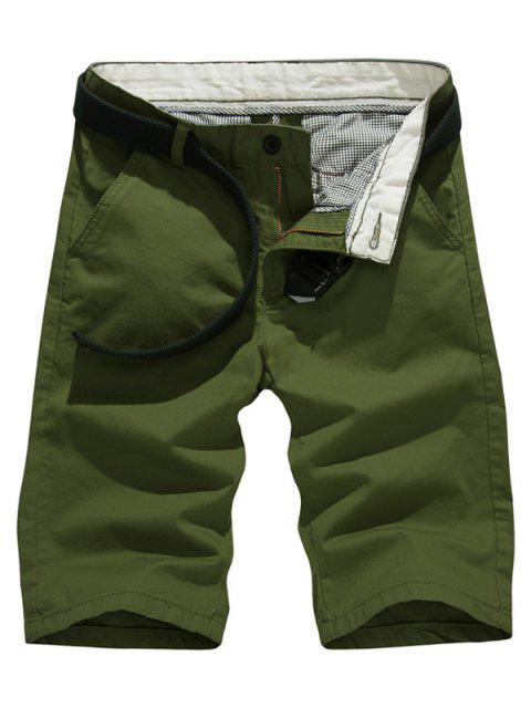 buy Solid Color Slim Fit Casual Shorts For Men - ARMY GREEN 31 Mobile