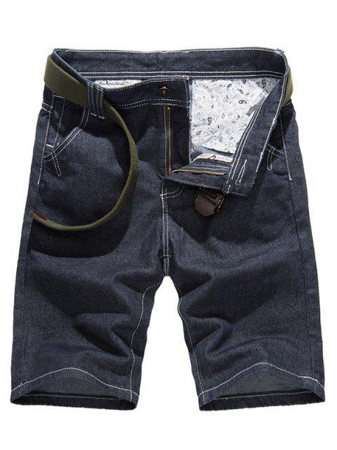 Diseño de costura clásica puros pantalones cortos de mezclilla de color para los hombres - Azul Denim 33 Mobile