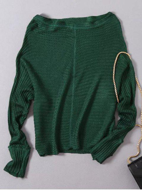 ladies Loose Fitting Slash Neck Batwing Sleeve Sweater - GREEN ONE SIZE Mobile