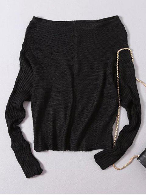 lady Loose Fitting Slash Neck Batwing Sleeve Sweater - BLACK ONE SIZE Mobile