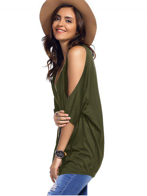 online Cold Shoulder Batwing T-Shirt - ARMY GREEN M Mobile