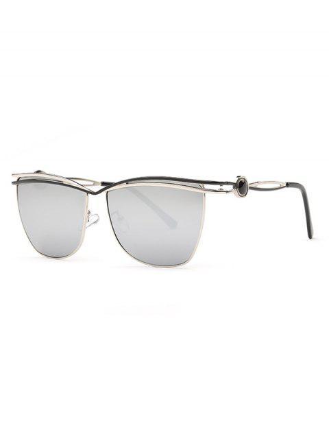 fashion Crossbar Mirrored Sunglasses - SILVER  Mobile