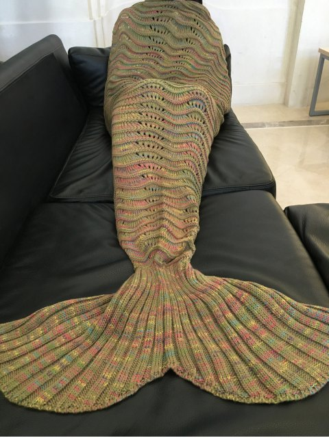 women's Handmade Knitted Mermaid Blanket - LIGHT BROWN  Mobile