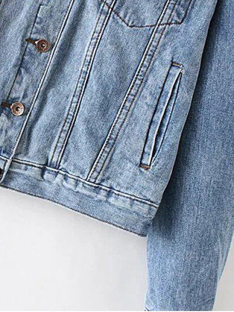 affordable Pockets Shirt Neck Denim Jacket - DENIM BLUE L Mobile