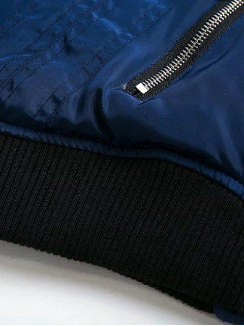 women Stand Neck Lace Up Zipper Jacket - BLUE L Mobile