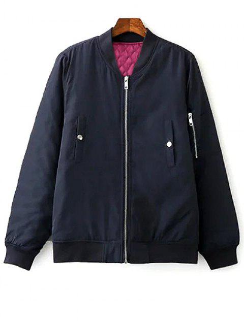 Floral brodé à col montant Zipper Jacket - Bleu Violet M Mobile