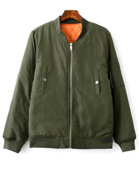 Bordado floral del soporte de cuello chaqueta de la cremallera - Verde del ejército S Mobile