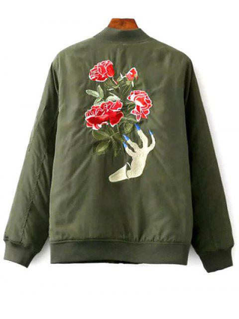 outfit Floral Embroidered Stand Neck Zipper Jacket - ARMY GREEN S Mobile