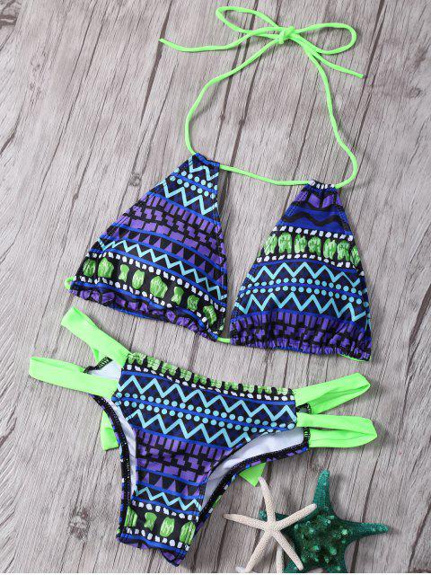 outfits Printed Halter Bowknot Embellished Bikini Set - GREEN M Mobile