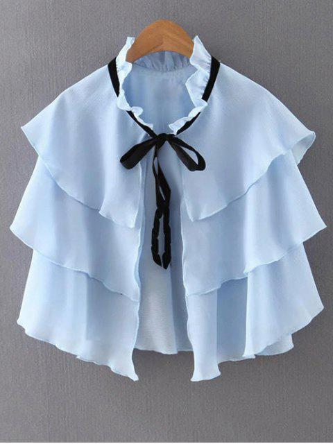 women Layered Ruffles Solid Color Cape - BLUE M Mobile