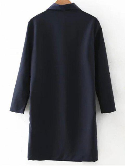 shops Turn-Down Collar Double-Breasted Coat - PURPLISH BLUE M Mobile