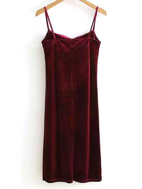 unique Spaghetti Straps Lustrous Velvet Prom Dress - WINE RED ONE SIZE Mobile