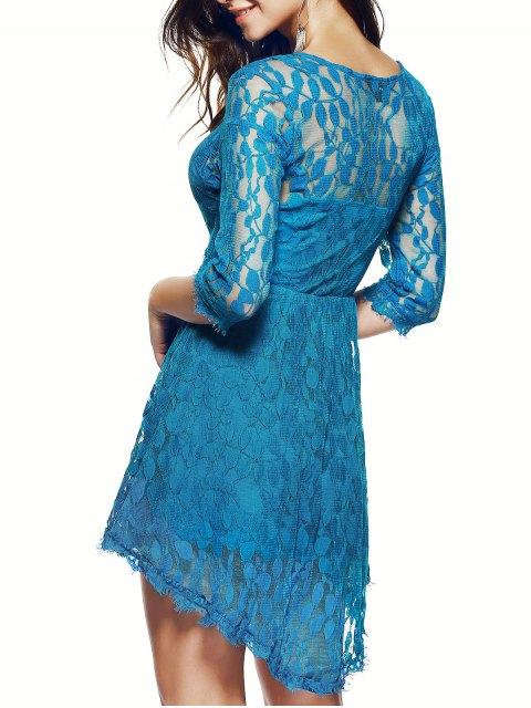 shop Sheer Sleeve Lace Skater Dress - BLUE XL Mobile