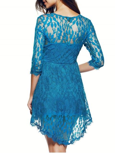 Robe en dentelle à manches Sheer - Bleu S Mobile