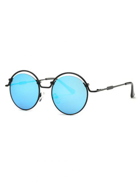 shops Wire Frame Mirrored Sunglasses - BLUE  Mobile