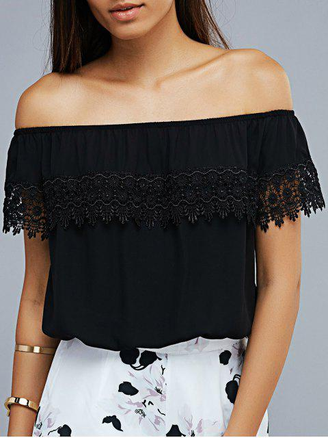 women's Lace Spliced Off The Shoulder Cropped T-Shirt - BLACK XS Mobile