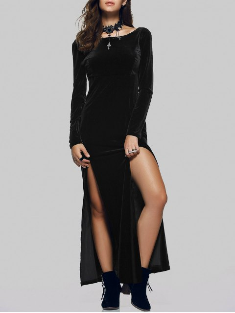 unique Velvet Double Split Maxi Dress - BLACK XL Mobile