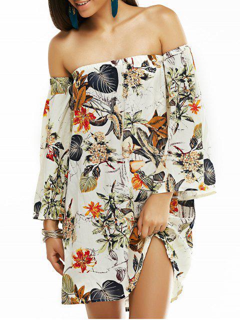affordable Off The Shoulder Vintage Printed Mini Dress - GRAY M Mobile