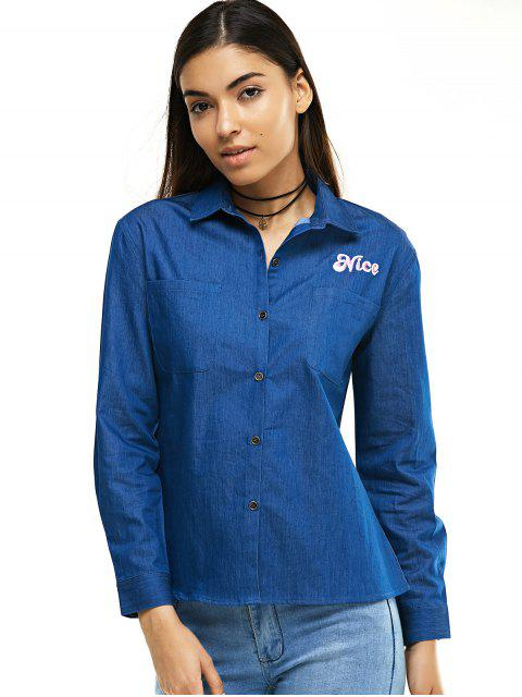 buy Coconut Embroidery Long Sleeve Denim Shirt - BLUE S Mobile