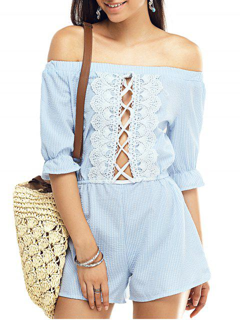outfit Striped Off The Shoulder Half Sleeve Romper - STRIPE S Mobile