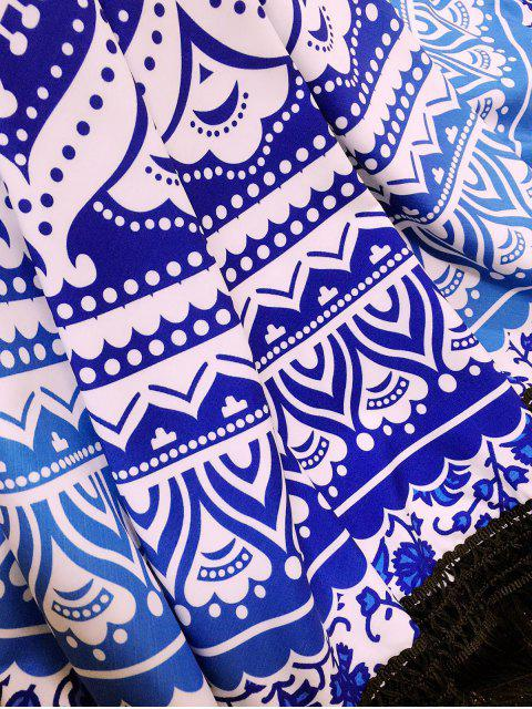 women's Blue and White Tassels Beach Throw - BLUE AND WHITE ONE SIZE(FIT SIZE XS TO M) Mobile