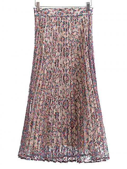 outfit Pleated Printed Lace Midi Skirt - COLORMIX S Mobile