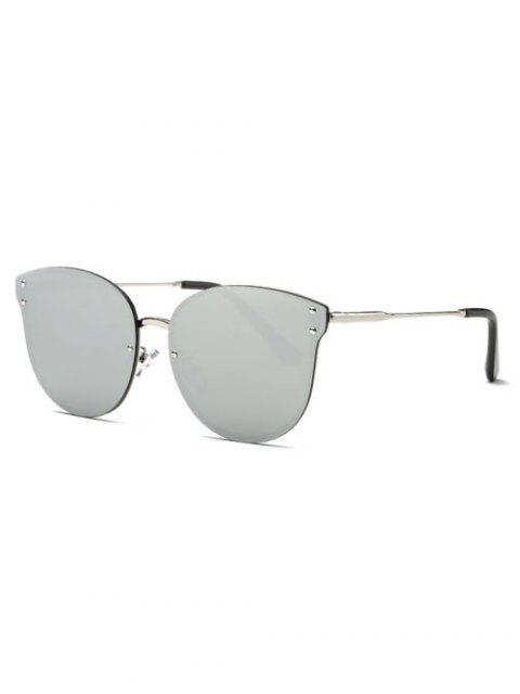 buy Frameless Cat Eye Mirrored Sunglasses - SILVER  Mobile