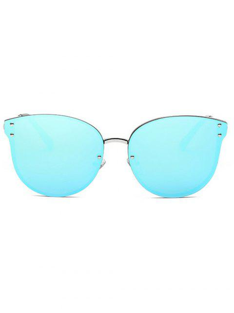 womens Frameless Cat Eye Mirrored Sunglasses - BLUE  Mobile