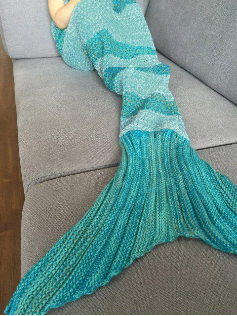 hot Stripe Knitted Mermaid Tail Blanket - WHITE AND GREEN  Mobile