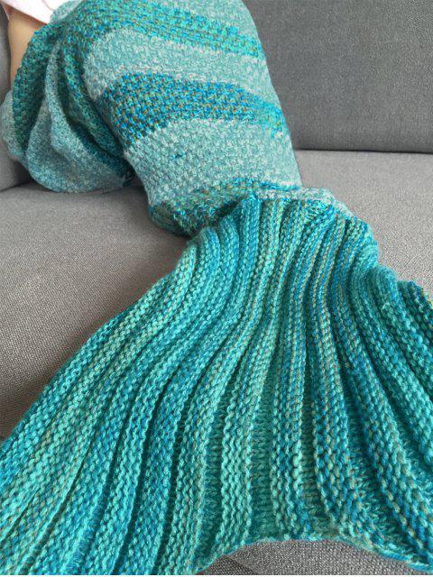 Stripe Knitted Mermaid Tail Blanket - Blanc et vert  Mobile