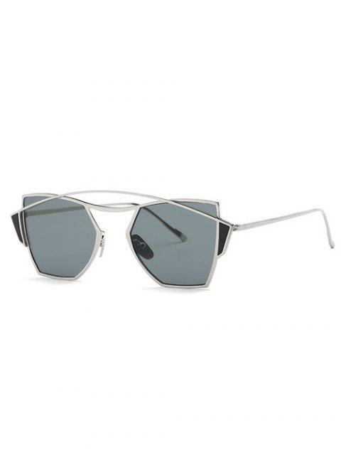 new Crossbar Cut Out Irregular Sunglasses - SILVER  Mobile