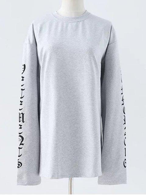 shops Letter Round Neck Loose Sweatshirt - GRAY M Mobile