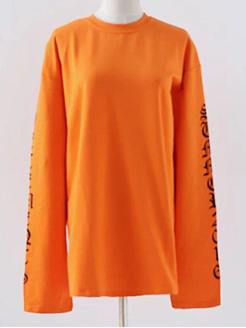 Lettre col rond en vrac Sweatshirt - Douce Orange M Mobile
