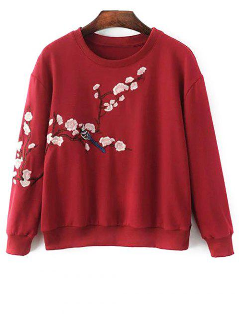 hot Titoni Embroidered Round Neck Sweatshirt - WINE RED S Mobile