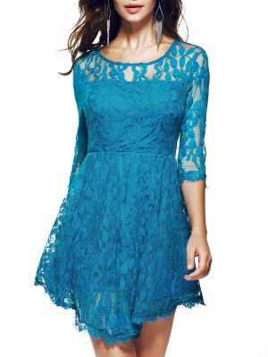 Vestido De Encaje De Manga Pura - Azul S