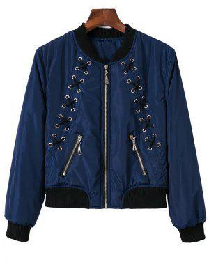 Stand Neck Lace Up Zipper Jacket - Blue S