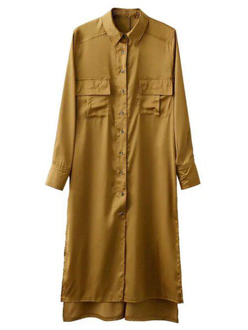 Split High Low Military Shirt Dress with Pocket 190282302