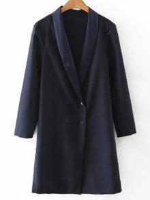 Col Rabattu Double-breasted Coat - Bleu Violet S