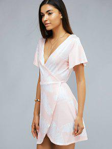 61fb9330e738 26% OFF  2019 Printed Plunging Neck Short Sleeve Wrap Dress In LIGHT ...