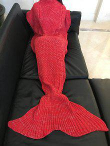 مريحة بلون الدفء الصوف محبوك حورية البحر الذيل تصميم بطانية - أحمر