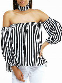 Off The Shoulder Lantern Sleeve Striped Loose Blouse - White And Black Xl