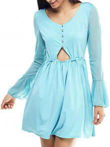 Mesh Spliced Scoop Neck Flare Sleeve Dress - Light Blue S