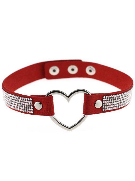 outfits Rhinestone Heart Choker - RED