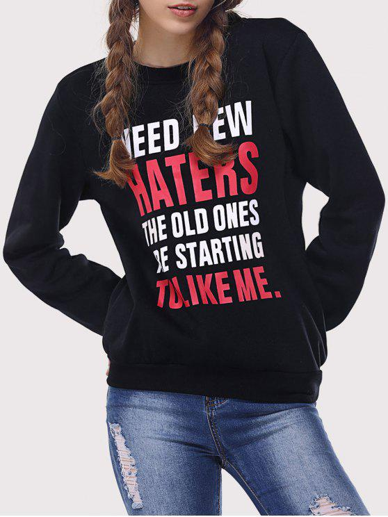 hot Letter Funny Sweatshirt - BLACK XL