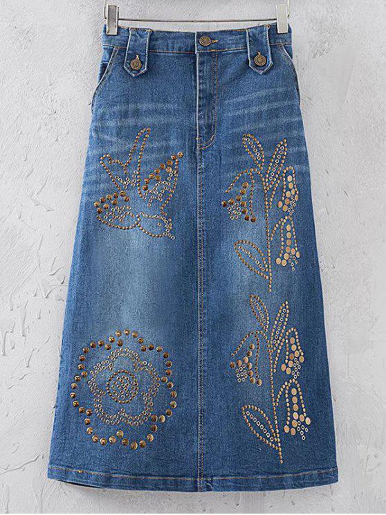 Remache de las lentejuelas de la falda del dril de algodón - Azul Denim M
