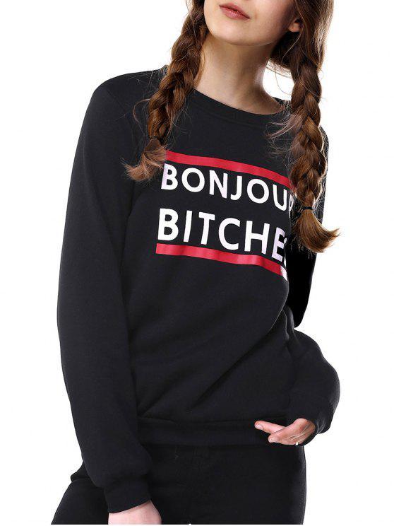 latest Loose Fitting Letter Print Sweatshirt - BLACK L