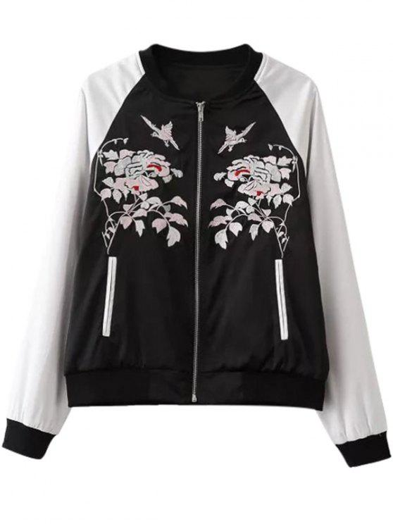latest Floral Embroidery Hit Color Stand Neck Jacket - WHITE AND BLACK S