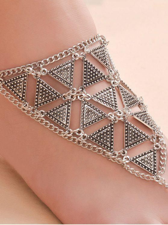 ladies Alloy Triangle Anklet - SILVER
