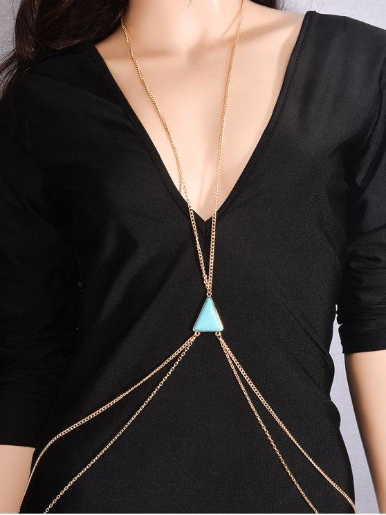 trendy Triangle Faux Turquoise Body Chain - BLUE AND GOLDEN