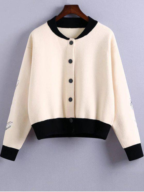 Embroidery Stand Neck Hit Color Jacket White Jackets Coats One